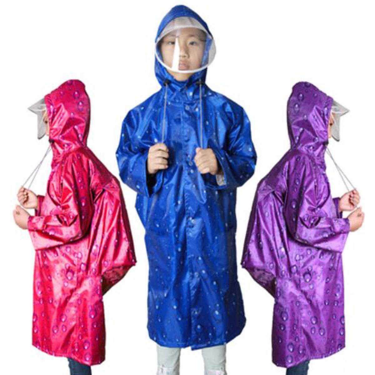 Studenti delle scuole elementari maschili e femminili Rosso Blu XXL Viola Poncho impermeabile con posizione di borsa Panno di Oxford Doppio cappuccio GUYUEXUAN Impermeabile