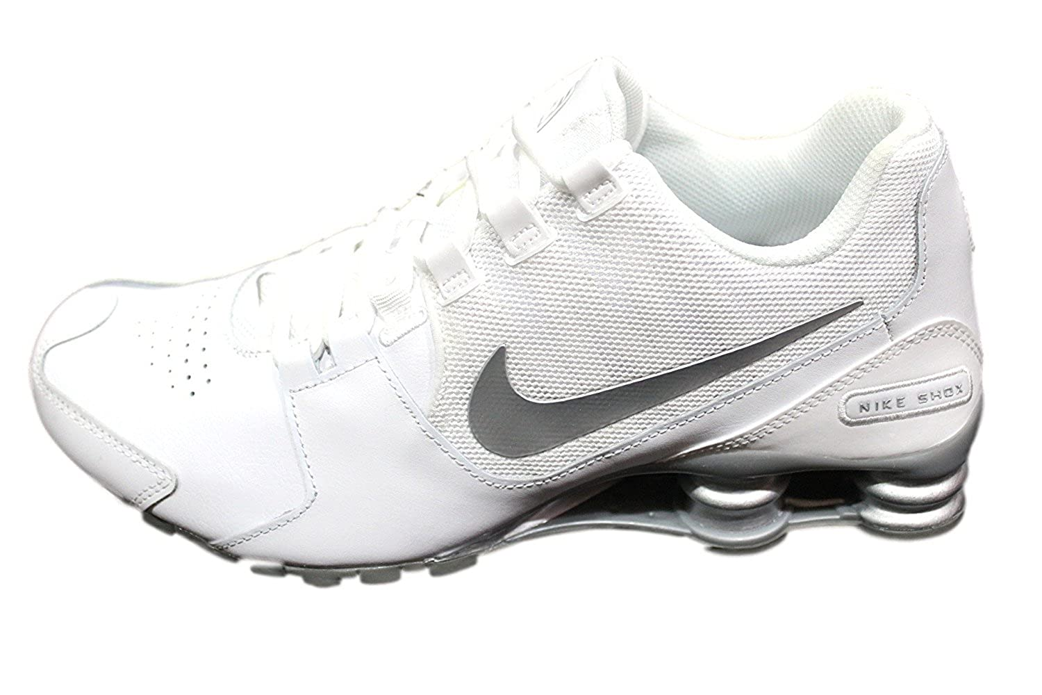 competitive price c7c6b b1688 ... amazon amazon nike mens shox avenue leather white silver running shoes  833584 100 road running b64d5