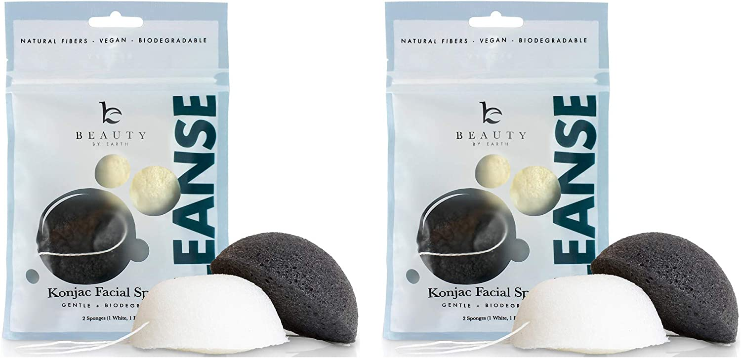 Konjac Sponge - 4 Pack of Natural Facial Sponges for Gentle Cleansing and Face Exfoliating Loofah for Use with Wash, Cleanser or Oil to Clean Skin (2 White Natural, 2 Black Charcoal)
