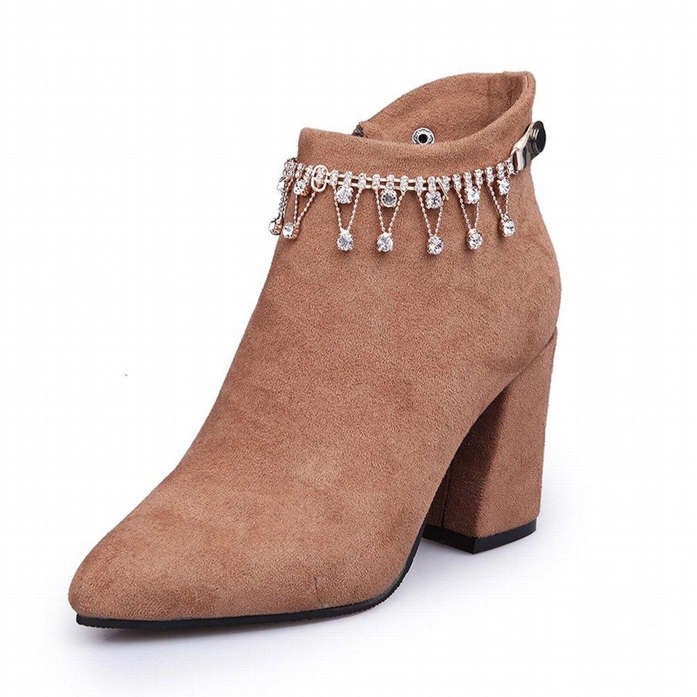 All Match Spitz und Rau mit Stiefeln Stiefel Frauen Stiefel Baumwollstiefel Harajuku High Heels , Gelb , EUR37