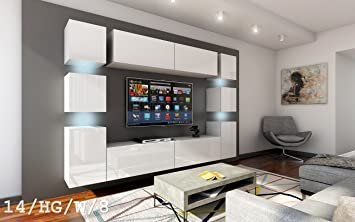 FUTURE 14 Wohnwand Anbauwand Wand Schrank Möbel TV Schrank Wohnzimmer  Wohnzimmerschrank Hochglanz Weiß Schwarz LED
