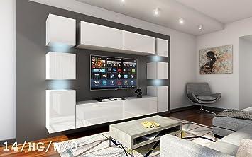 future 14 wohnwand anbauwand wand schrank mobel tv schrank wohnzimmer wohnzimmerschrank hochglanz weiss schwarz led