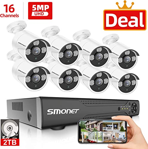 5MP 16 Channel 16 Channel Security Camera Systems, SMONET 5-in-1 DVR Video Surveillance System 2TB HDD , 8pcs Wired 5MP 2560TVL Outdoor Waterproof Surveillance Cameras with Night Vision Remote View