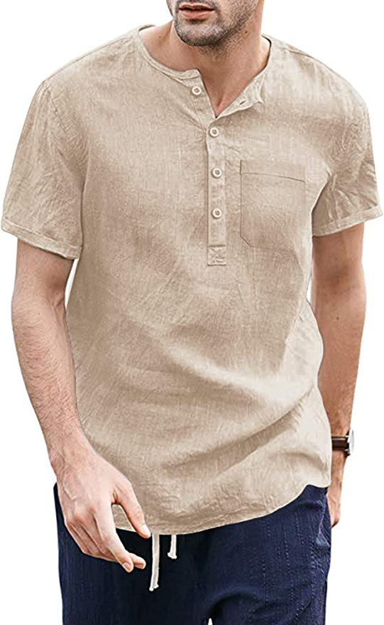 60s , 70s Hippie Clothes for Men COOFANDY Mens Cotton Linen Beach Shirts Long Sleeve Casual Henley Shirt $21.99 AT vintagedancer.com