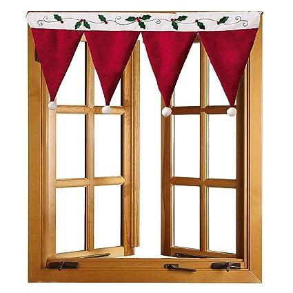 Yoofor Decoraciones Cortinas Cortina De Rojo De Navidad Gorro De - Cortinas-y-decoraciones