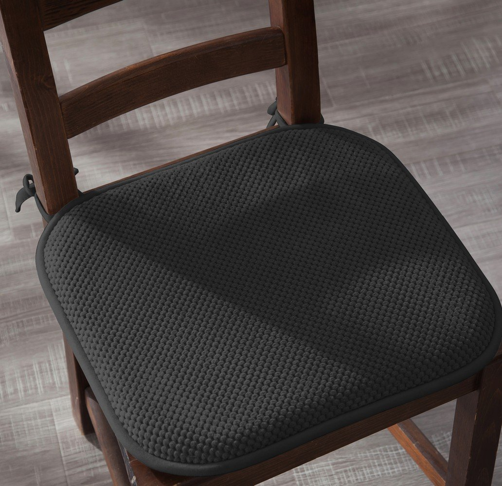 4 Pack: Ellington Home Non Slip Memory Foam Seat Cushion Chair Pads with Ties - 17'' x 16'' - Black by Ellington Home (Image #5)