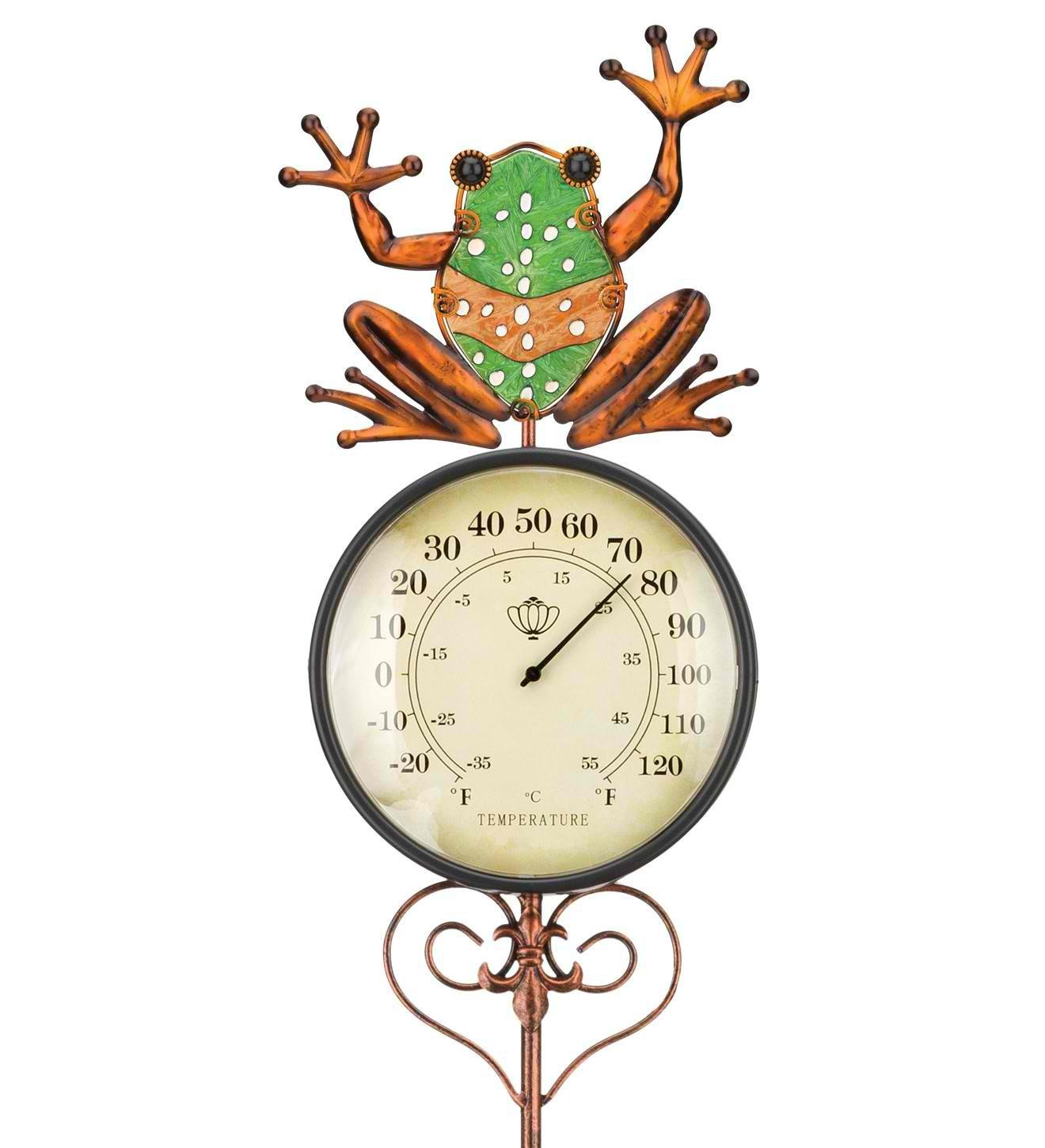 Regal Art & Gift 7 Inches x 1.5 Inches x 47.25 Inches Thermometer Garden Stake Frog