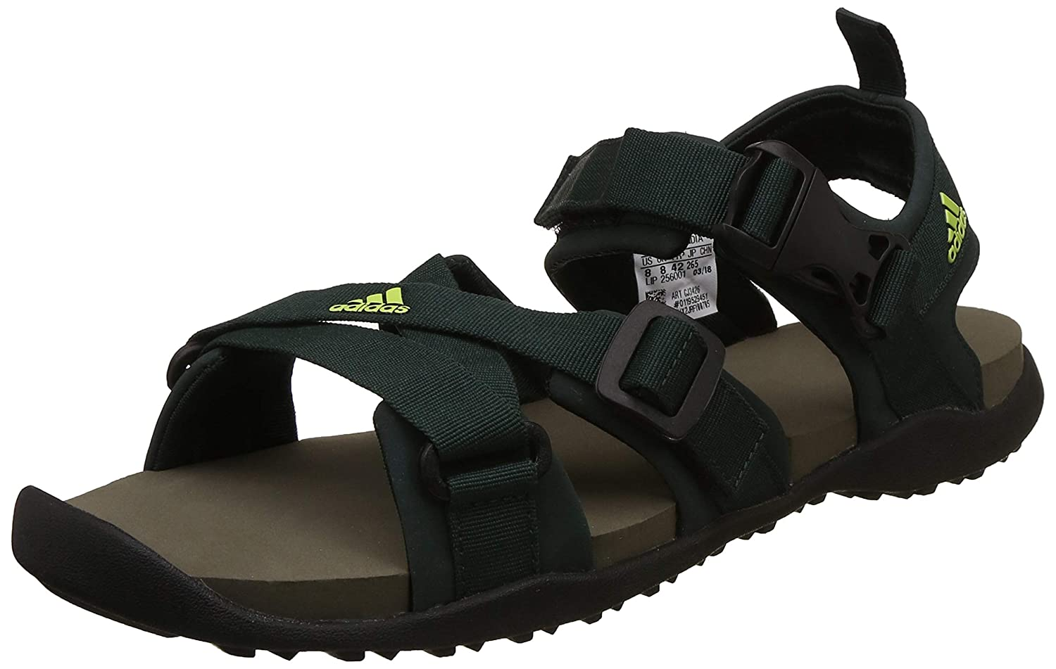 2a545d82b0de47 Adidas Men's Gladi M Grnnit/Syello/Branch Sandals-11 UK/India (46 1/9 EU)  (CJ3426): Buy Online at Low Prices in India - Amazon.in
