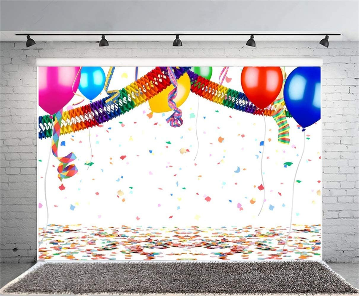 Ugly Sweater Party Polyester Photography Background 10x6.5ft Colorful Festival Garland Streamers Balloons Carnival Birthday Party Backdrop New Year Celebration Wallpaper