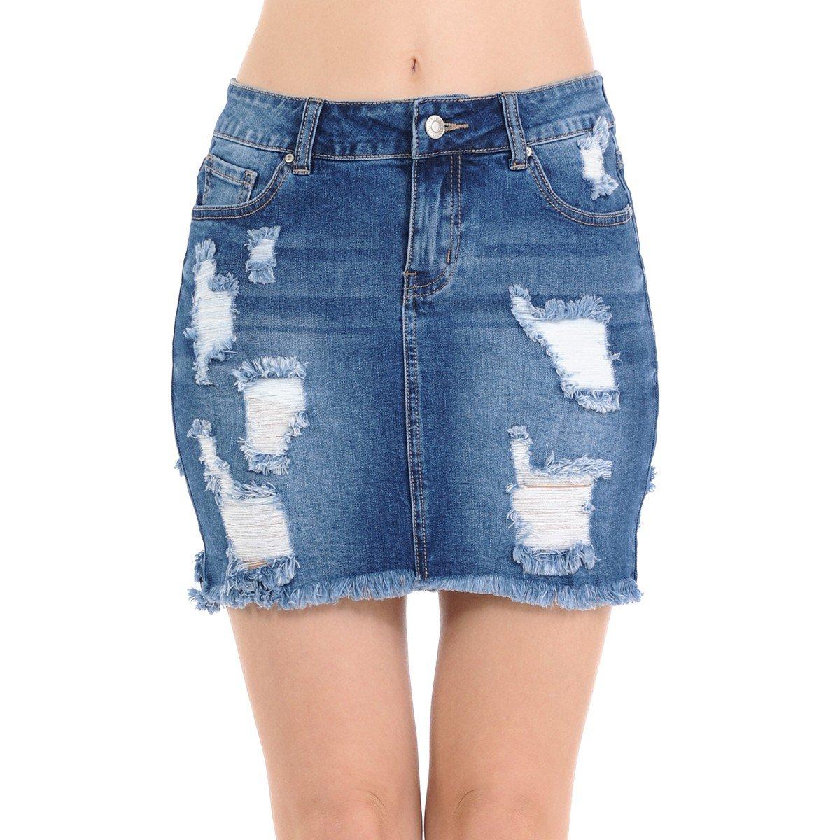 NioBe Clothing Wax Women's Denim Frayed Destruction Distressed Hem Skirt (Small, Medium Denim)