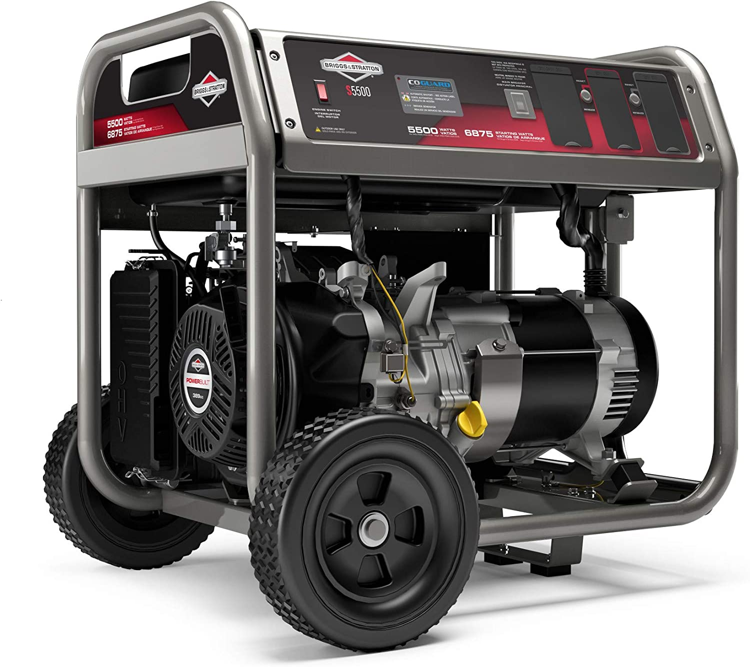 Briggs & Stratton S5500 5500W Portable Generator with CO Guard and (4) 120V (1) 120/240V, 30A outlets, Powered by Briggs & Stratton, 030744
