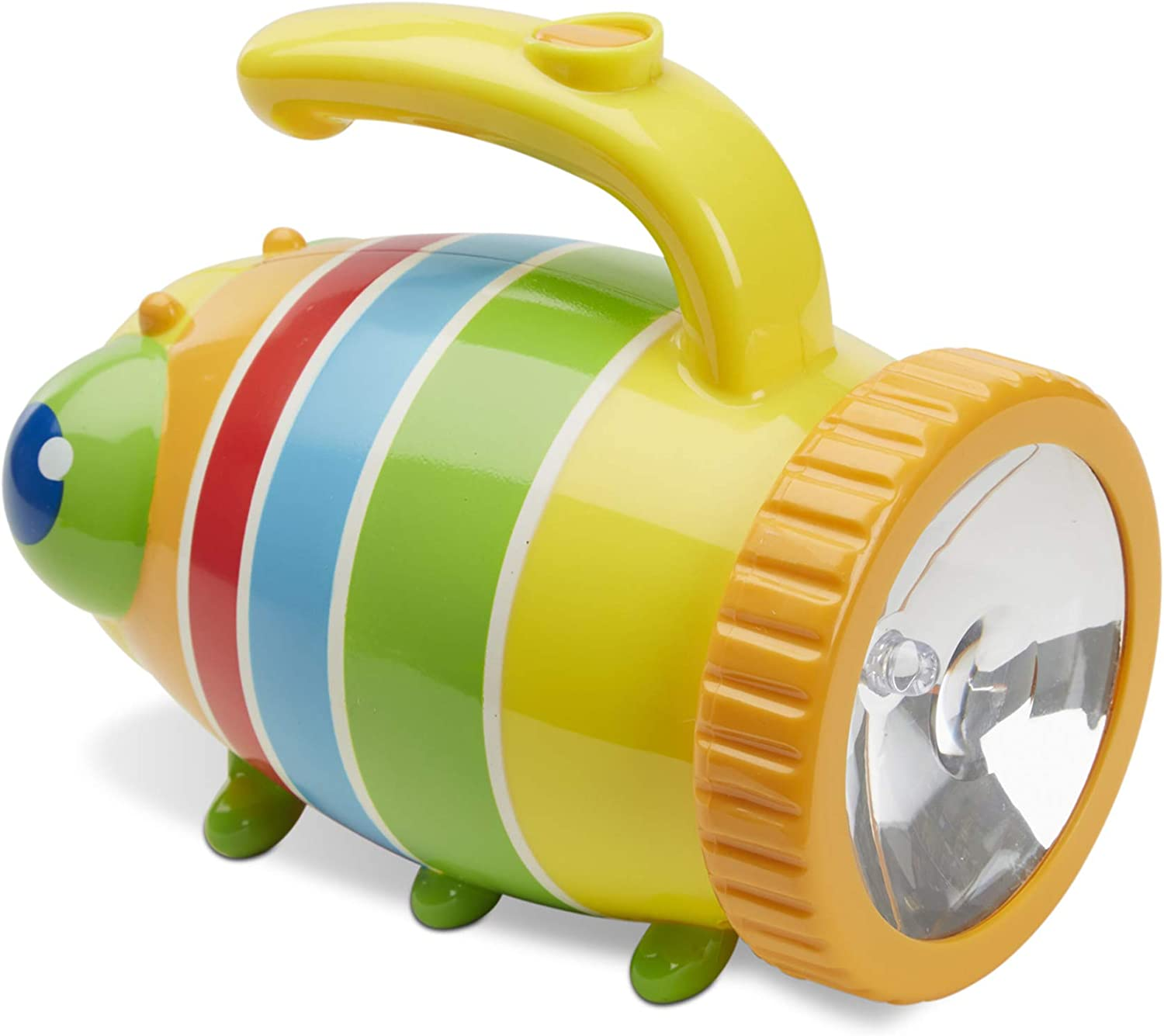 Image of a multi-colored catterpillar design kiddie flashlight with handle on top.