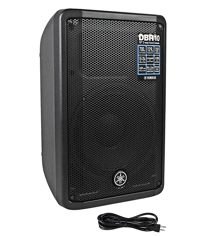 Yamaha DBR10 DBR Series 700W Bi amplified Portable Active Powered Speaker  (Pair) with Ultimate speaker stands and 2 XLR Microphone Cables