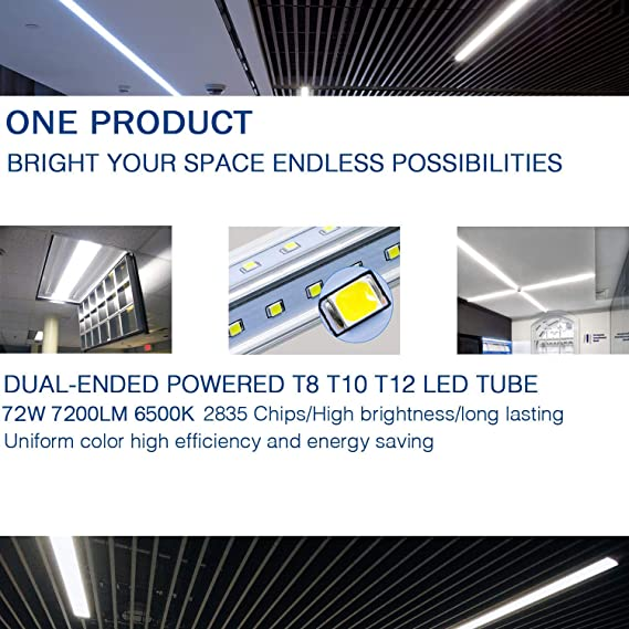 8Ft LED Light Tube, 72W 7200Lm 6500K,R17D/HO Base 270 Degree V Shape LED  Chip Bulbs, Dual-End Powered, Ballast Bypass, Fluorescent Replacement,  Clear