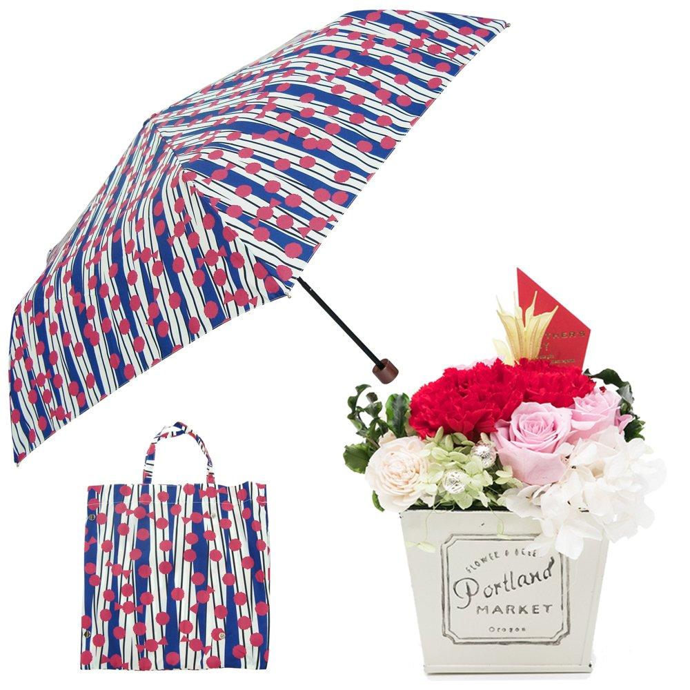 母の日ギフト プリザーブドフラワーと折り畳み傘のギフトセット B07CJ8PW8R お花:赤/Mサイズ|キャンディ キャンディ お花:赤/Mサイズ