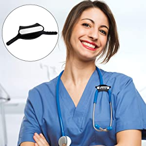 4 Sets Yoke Stethoscope ID Tag Stethoscope Identification Tag for Cardio Steth Sizes, Blank Stethoscope ID Tag with Writable Surface, Compatible with Cardio and Cardiology (Color: Black)