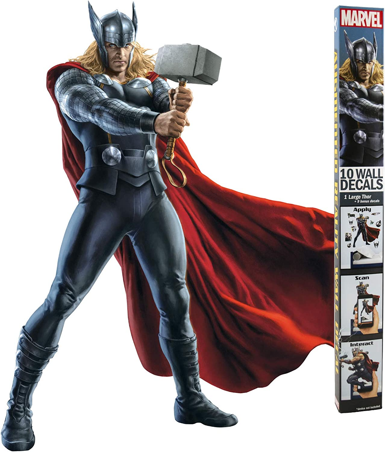 """Decalcomania Marvel 10-Pc Thor 23"""" x 27"""" Wall Decal With 3D Augmented Reality Interaction"""