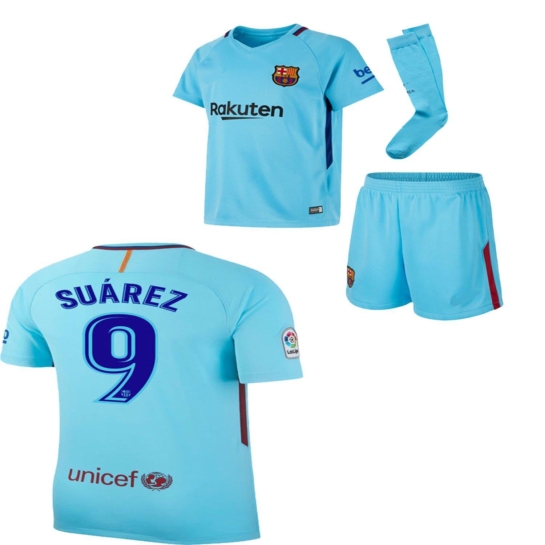 e570e9d7a Amazon.com   BARCA2018 Barcelona NB Messi Suarez Iniesta Neymar 2017 2018  17 18 Kid Youth Replica Home Jersey Kit   Shirt