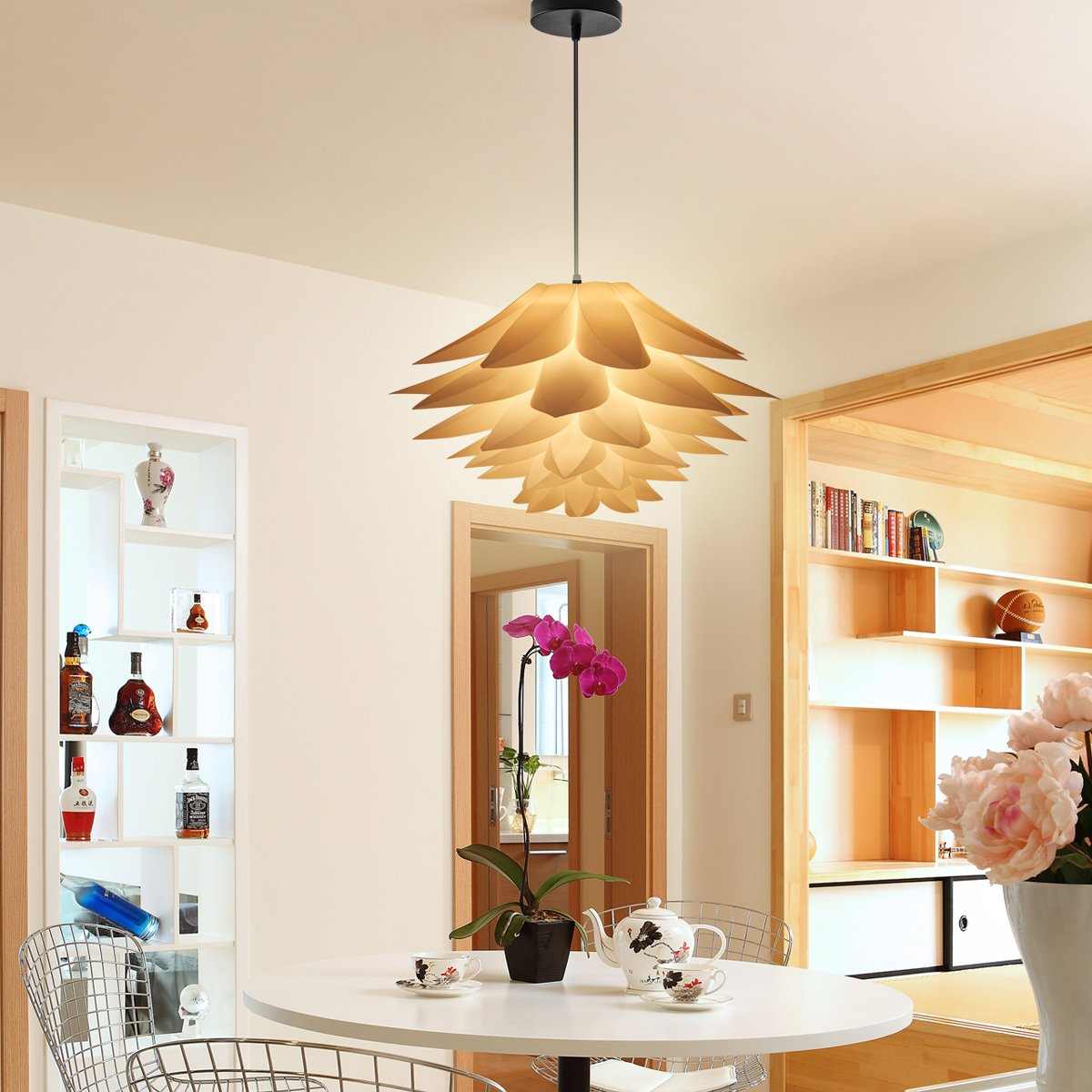 Excelvan diy kit lotus chandelier iq pp pendant lampshade suspension excelvan diy kit lotus chandelier iq pp pendant lampshade suspension ceiling pendant chandelier light shade lamp for holiday living room bedroom study aloadofball Image collections