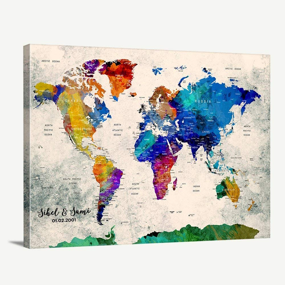 Amazon.com: Custom World Map Canvas Print - World Map Push Pin ... on west inies on a map of the world, i need a map united states, i need the color wheel, west part of the world,