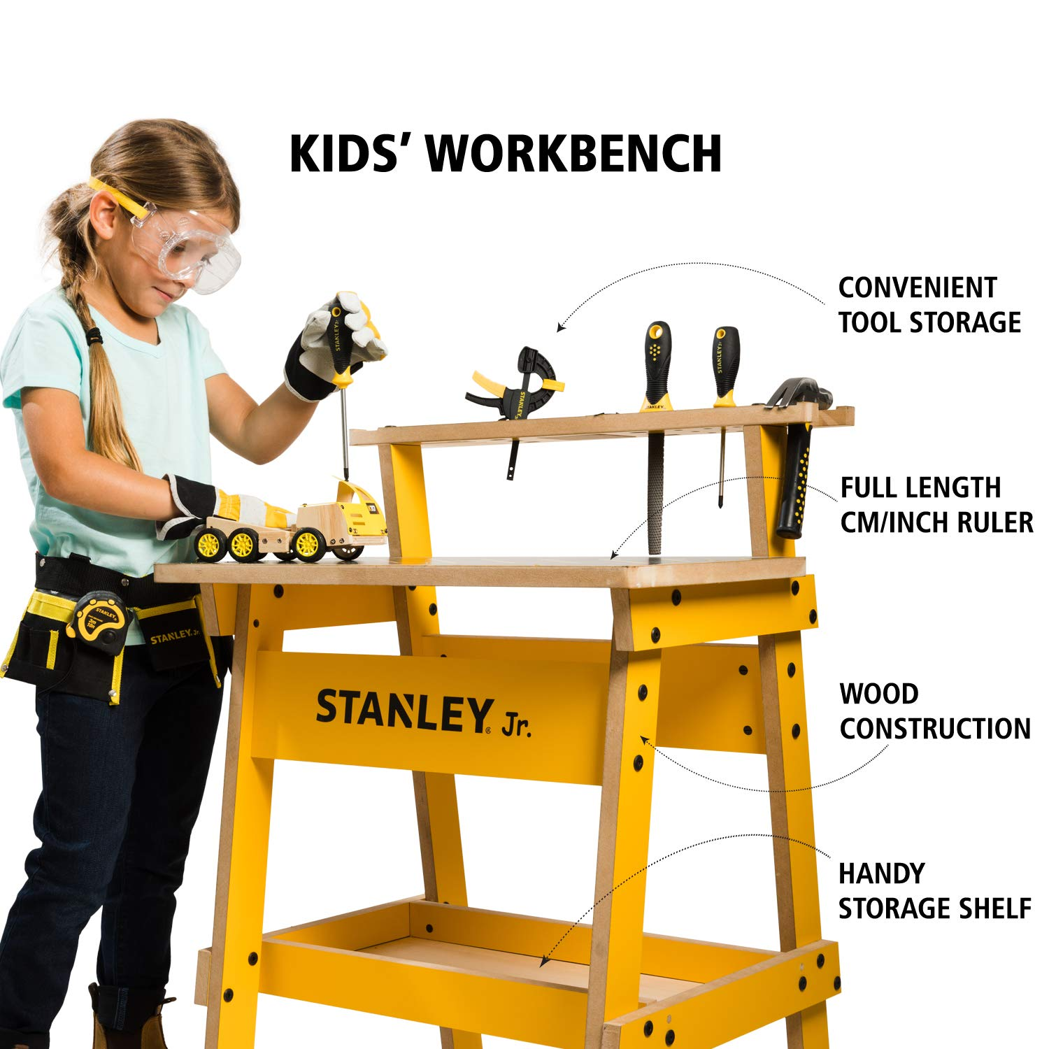Peachy Stanley Jr Kids Work Bench Real Wood Craft Kits For Kids Fun Working Bench For Kids Kids Workshop Tool Bench Childrens Play Work Bench Gamerscity Chair Design For Home Gamerscityorg