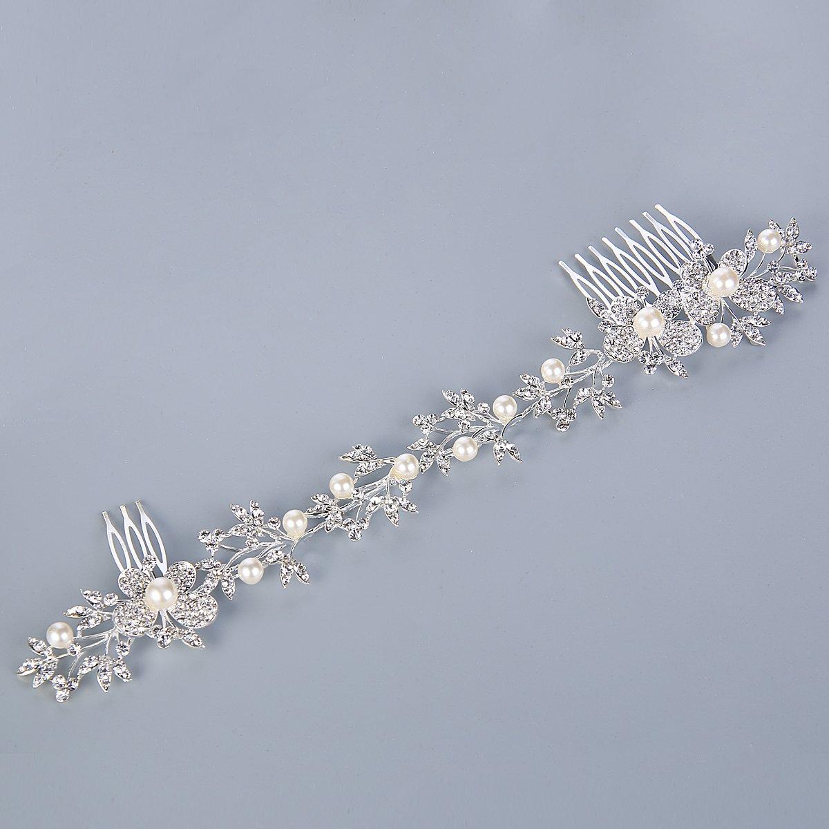 Clearine Damen B/öhmisch Ivory-Farbe K/ünstliche Perlen Schmetterling Kristall Braut Verformbar Haarkamm Haarschmuck