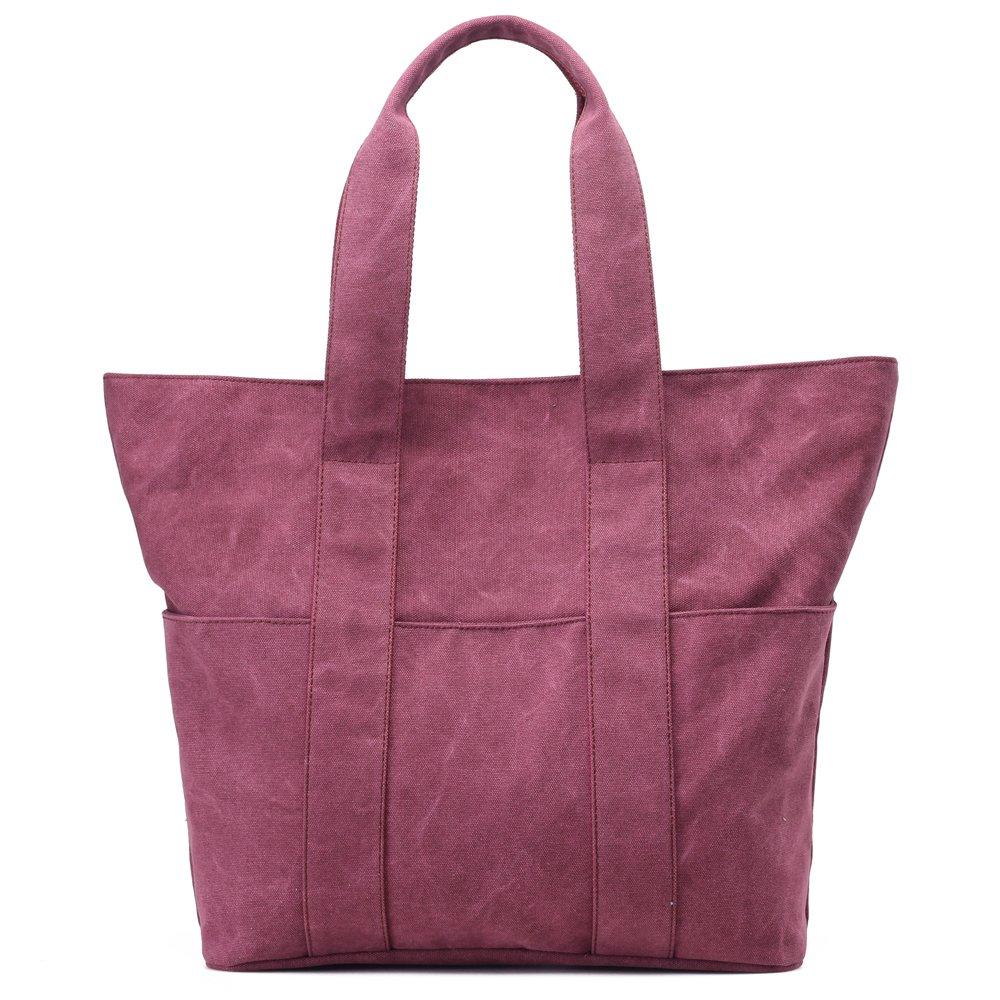 Hiigoo Women's Eco-friendly Shopping Bag Casual Handbag Canvas Shoulder Bags Large Tote (Red)