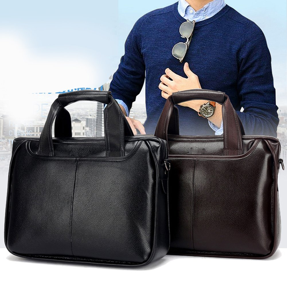 Fellibay Mens Briefcase Laptop Handbag Synthetic Leather Work Bags for Business Men