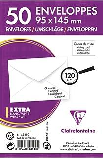 Clairefontaine 4311C Paquet De 50 Enveloppes Visite Gommes 95 X 145