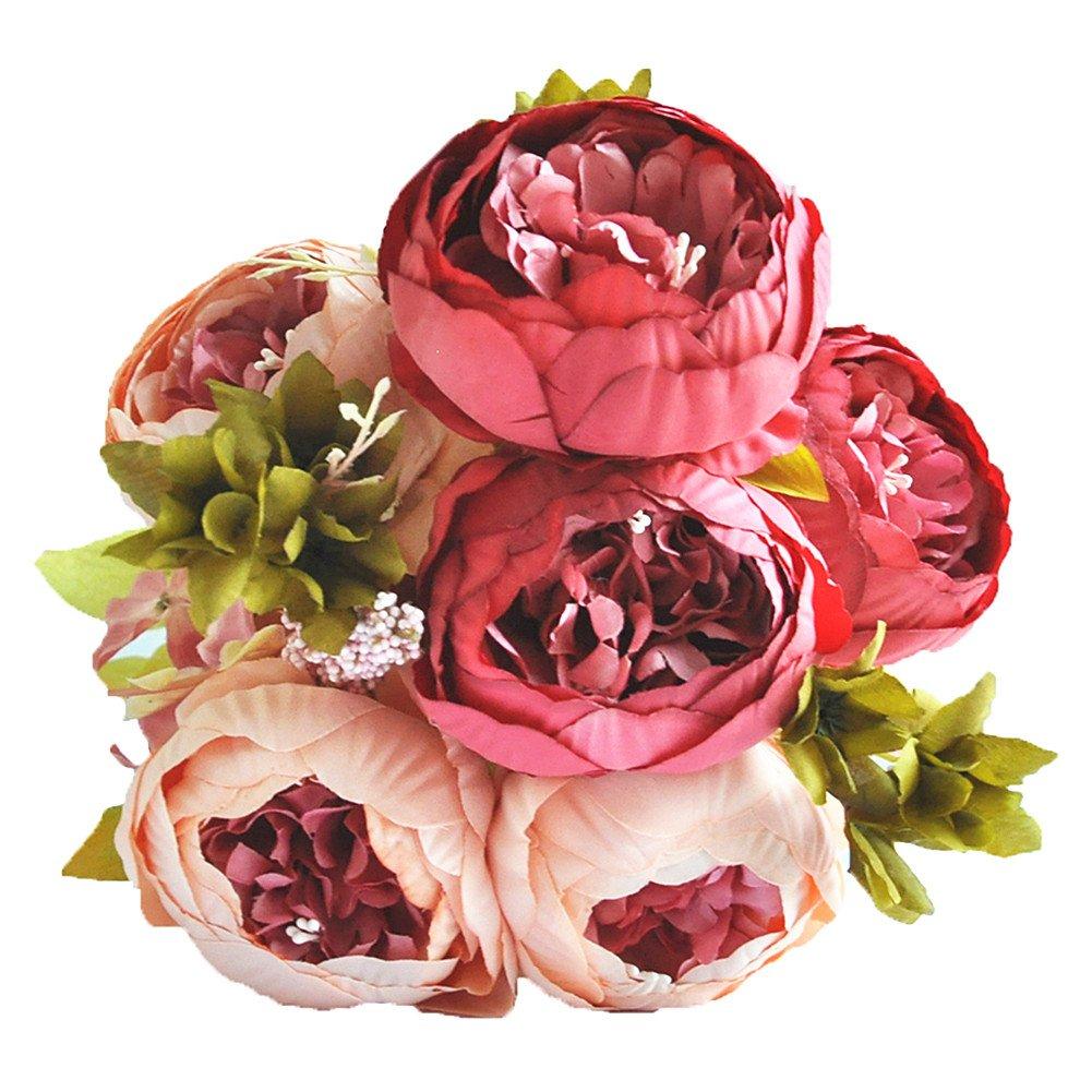 Amazon.com: Shine-Co Artificial Peony Silk Flowers Bouquet Glorious ...