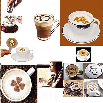 Set de 16 de bricolaje creativo café plantilla plantillas para decorar capuchinos, color blanco Art de plástico para Fancy café impresión: Amazon.es: Hogar