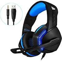 PHOINIKAS USB Gaming Headset for Xbox One, PS4, PC, Gaming Headphones with Microphone, LED Light, 7.1 Stereo Sound, Noise-canceling, Over-Ear Soft Earmuffs and Adjustable Earphones(Blue)