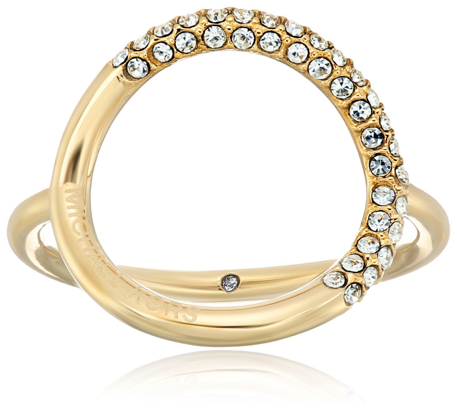 Michael Kors Brilliance Gold Banded Circle Ring, Size 7