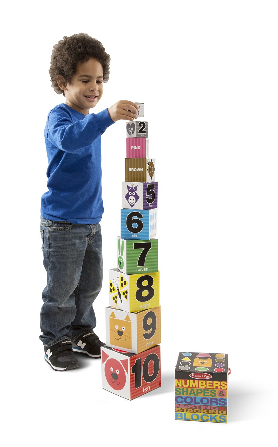 Melissa & Doug Nesting and Stacking Blocks: Numbers, Shapes, and Colors by Melissa & Doug (Image #2)