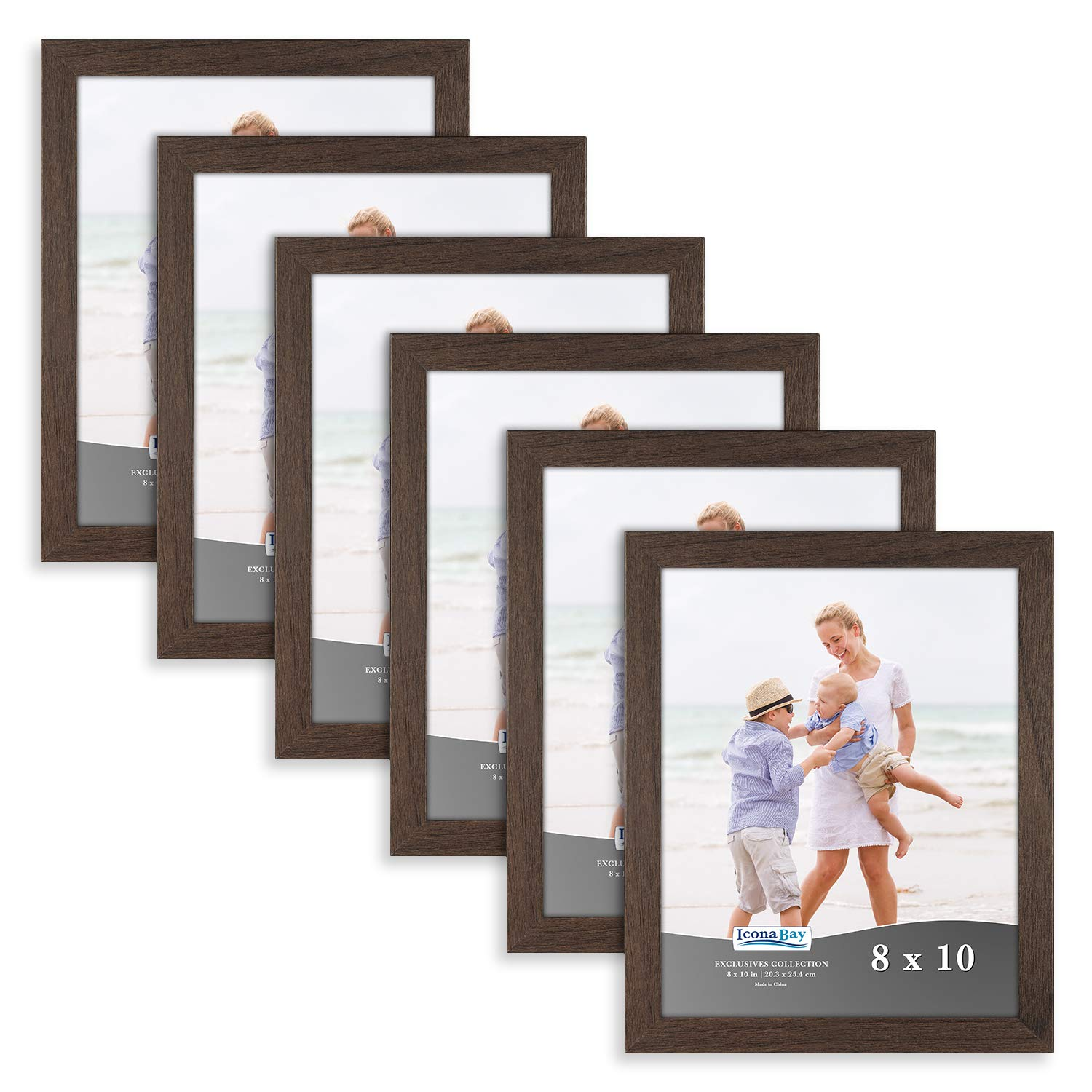 Icona Bay 8x10 Picture Frame (6 Pack, Hickory Brown), Brown Sturdy Wooden Composite Photo Frame 8 x 10, Wall or Table Mount, Set of 6 Exclusives Collection by Icona Bay
