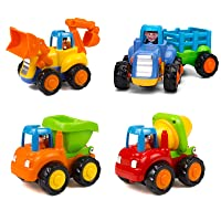 Friction Powered Cars Push and Go Trucks Construction Vehicles Toys Set of Tractor...