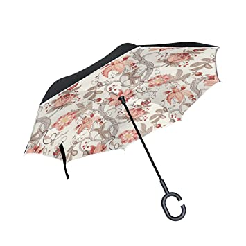 MAILIM Paraguas Reversible para Coche, Diseño de Flores, Color Azul