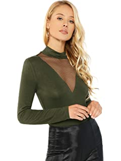 c768dc9307 SheIn Women's Long Sleeves Slim Fit See-Through Mesh Top at Amazon ...
