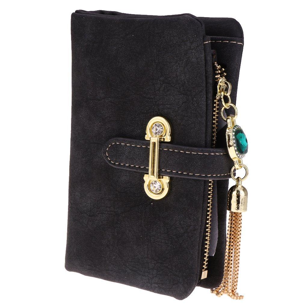 MagiDeal Frauen Mädchen Mode Quaste Anhänger Dekor Bifold Geldbörse Handtasche Kupplung - schwarz