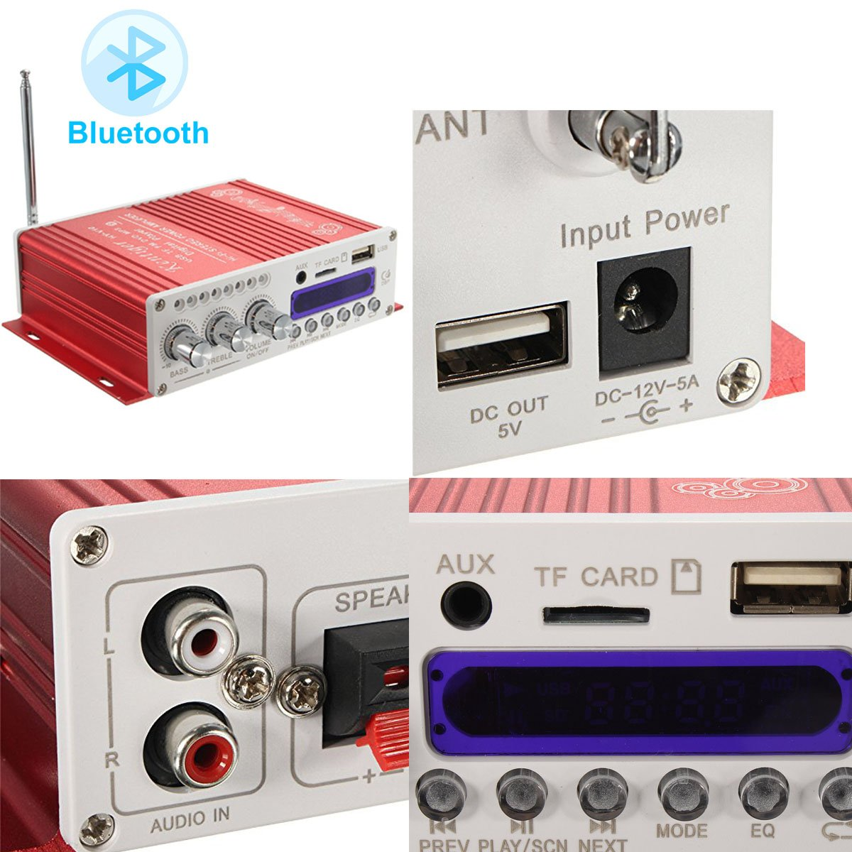 Wingoneer Mini Bluetooth Hi Fi Stereo Audio Amp Cheap Booster Amplifier Bass Mp4 12v Support Fm Mp3 Tf Usb Dvd For Car Motorcycle Auto Cd