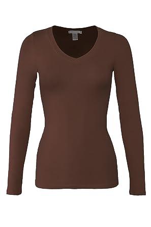 3b69c6307868a Bozzolo Women's Basic V-Neck Warm Soft Stretchy Long Sleeves T Shirt ...