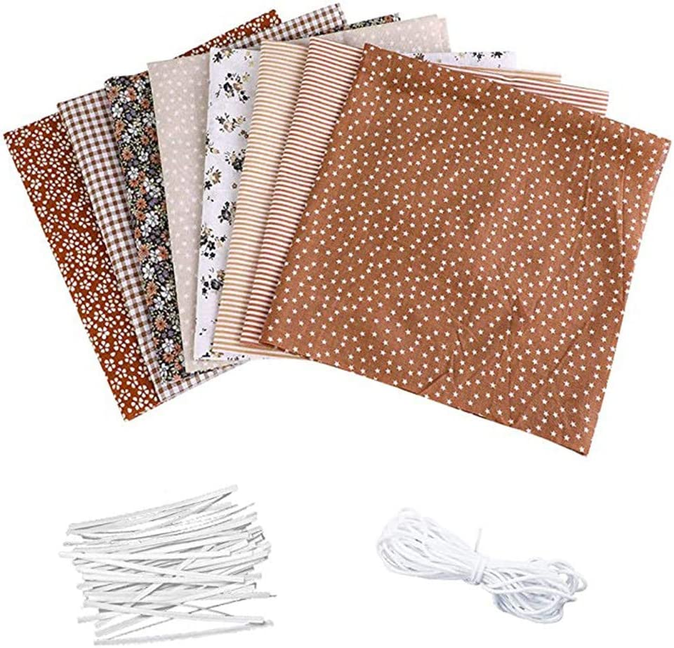 A Sewing Fabrics Patchwork Fabric DIY Cotton Material Prints Flower Cloth Quilting Crafts with Nose Bridge Strip Elastic Band 8PCS Cotton Fabric Set