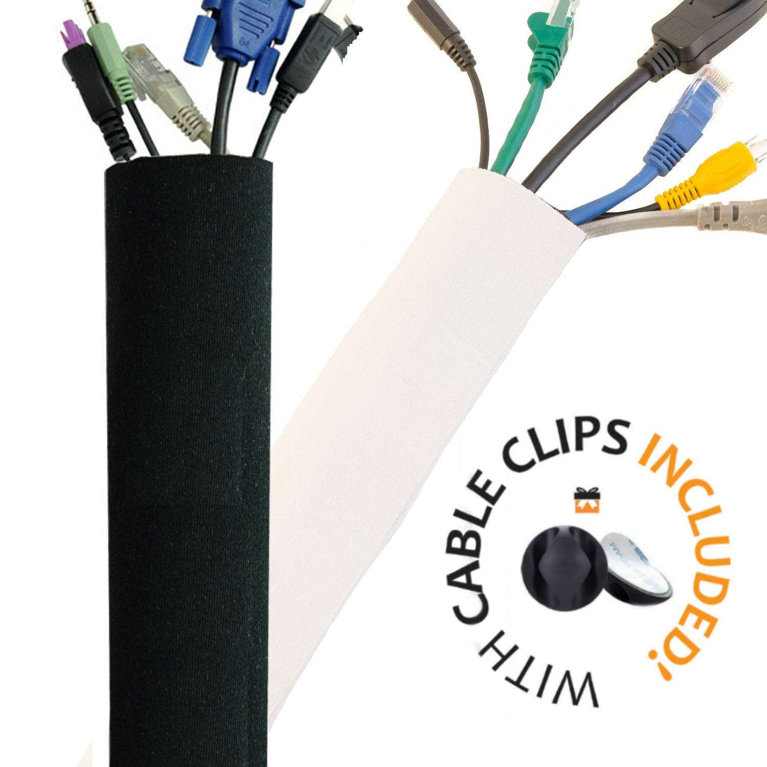 PREMIUM 63'' Cable Management Sleeve with Free Cable Clips | Best Cords  Organizer for