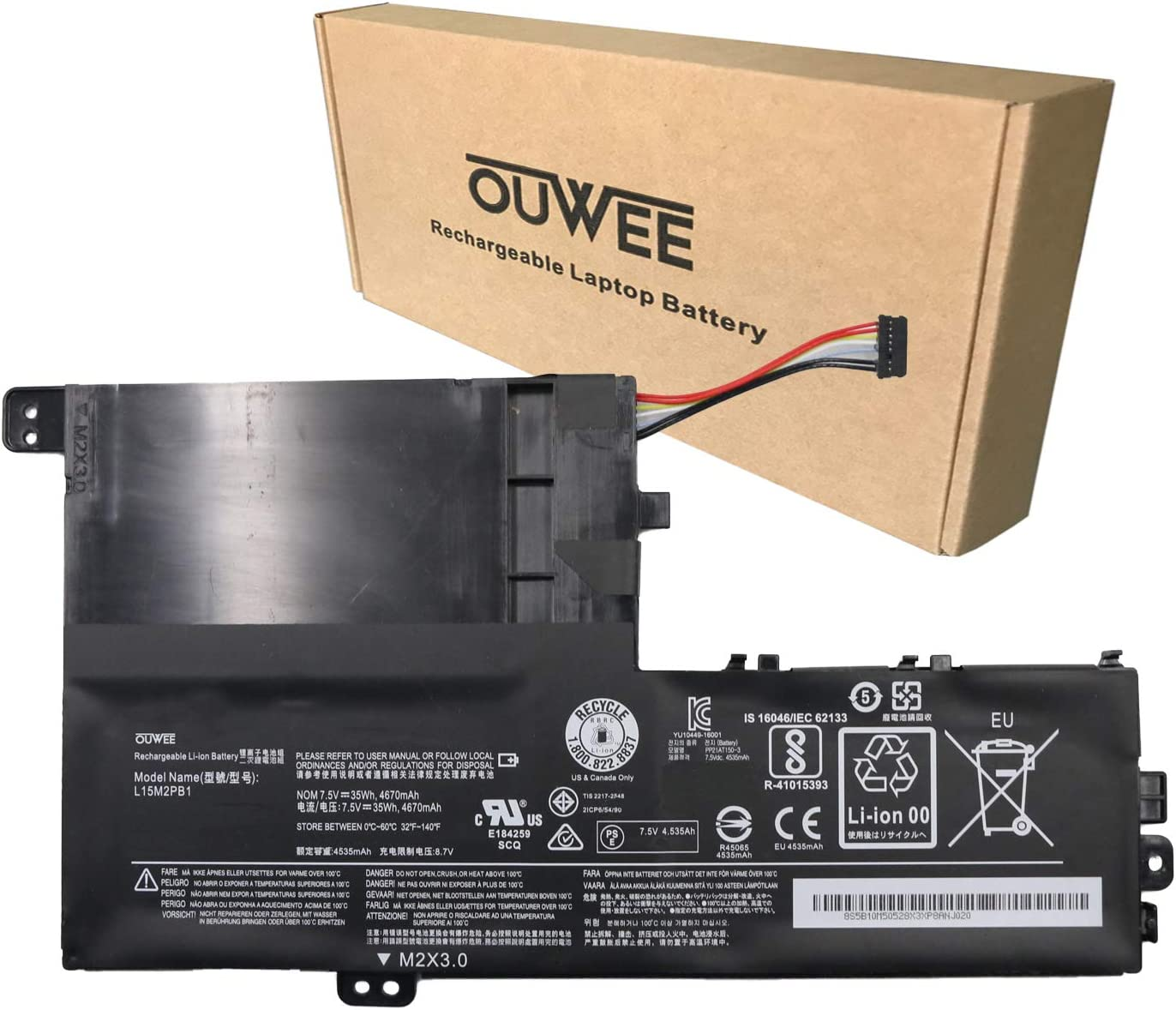 OUWEE L15M2PB1 Laptop Battery Compatible With Lenovo Flex 5 1470 1570 IdeaPad 320S-14IKB 320S-15ABR 320S-15AST 320S-15IKB 320S-15ISK 520S-14IKB Yoga 520-14IKB Serie L15L2PB1 L15C2PB1 L15M3PB0(Shape-A)