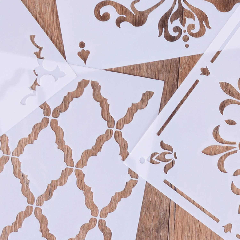 decoraci/ón del hogar muebles para suelos de azulejos madera bricolaje dibujo art/ístico 30,5 x 30,5 cm Plantillas reutilizables de LOCOLO pintura 3 unidades