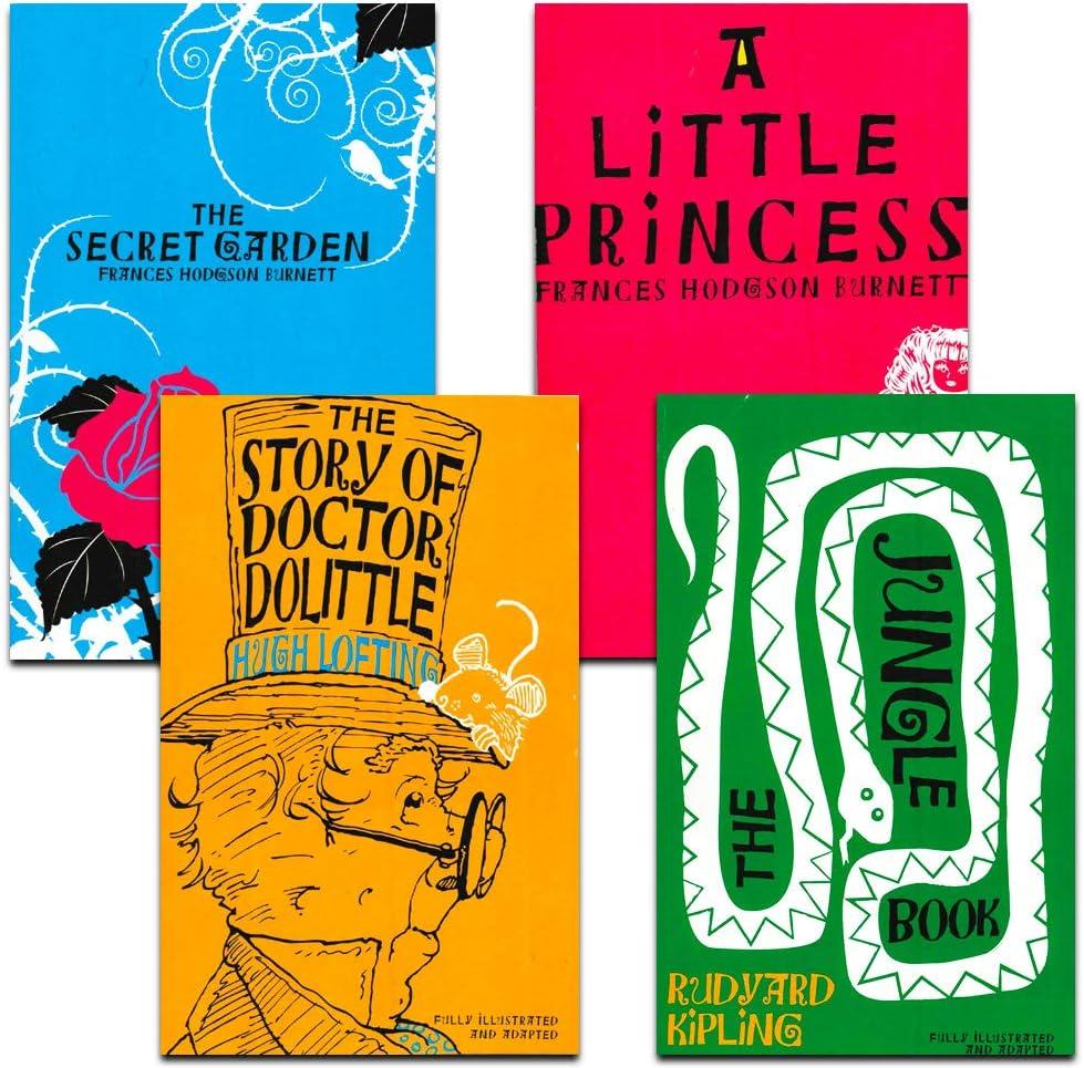 Bendon Libros de publicación para niños, Juego de 4 Libros clásicos, la Historia de Doctor Dolittle, el Libro de la Selva, el jardín Secreto y una pequeña Princesa (Tapa de Papel): Amazon.es: