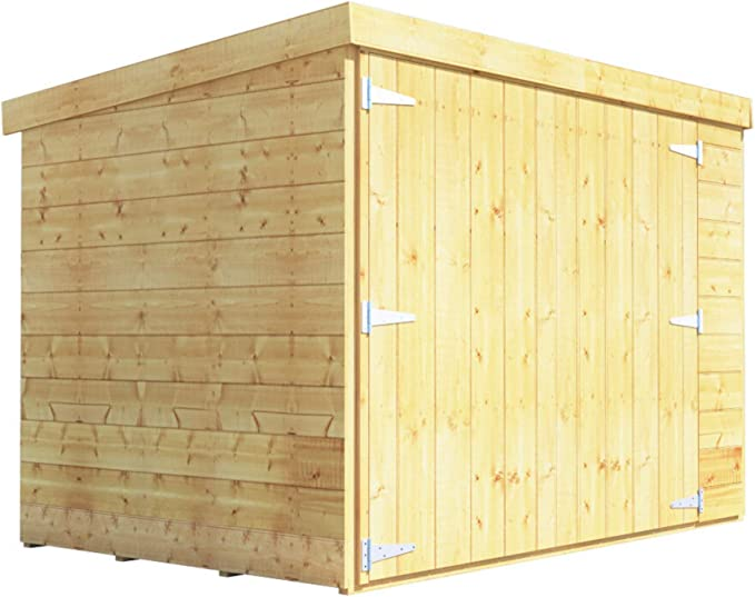 Cobertizo en madera machihembrada de 1.82 x 1.21 m, cabaña de madera, almacenaje de bicicletas, puerta doble, techo con tela asfáltica.: Amazon.es: Jardín