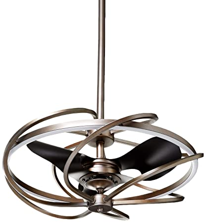 Modern Ceiling Fan with LED Lights 27 Inch Contemporary Art Chandelier Ceiling Fans Light Kit with 3 Reversible Blades, Remote Control, 3000K, Not Dimmable, Brown