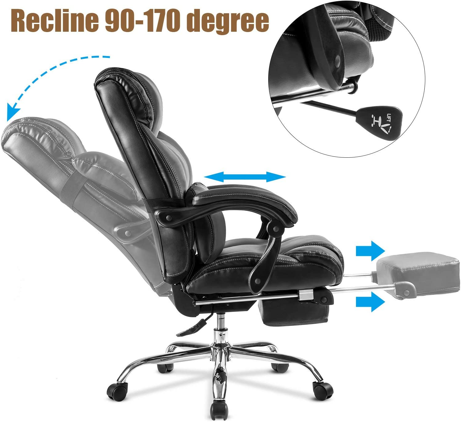 Amazon Com Merax Racing Gaming Chair With Footrest Ergonomic Office Reclining Chair Computer Gamers Pc Racer High Back Large Home Desk Chairs Executive Adjustable Armrests And Comfortable Seat All Black Kitchen