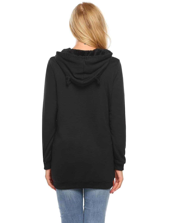 ELESOL Women Cute Cartoon Anime Casual Long Sleeve Hoodies Pockets Pullover Sweatshirt